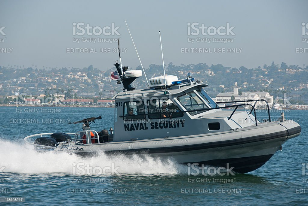 Naval Security Speedboat in San Diego, California stock photo