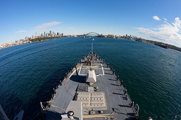 Naval Ship Entering Sydney Harbor stock photo