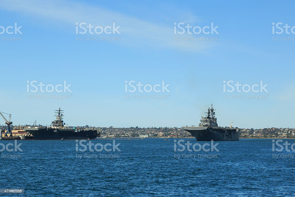 Naval ships in San Diego Bay stock photo