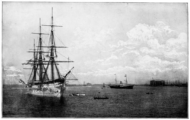 Naval Tall Ships at Kronstadt Harbour in Saint Petersburg, Russia - Russian Empire 19th Century Naval tall ships in Kronstadt Harbour at Kronstadt on Kotlin Island in Saint Petersburg, Russia. The Russian Empire era (circa 19th century). Vintage halftone photo etching circa late 19th century. naval base stock pictures, royalty-free photos & images