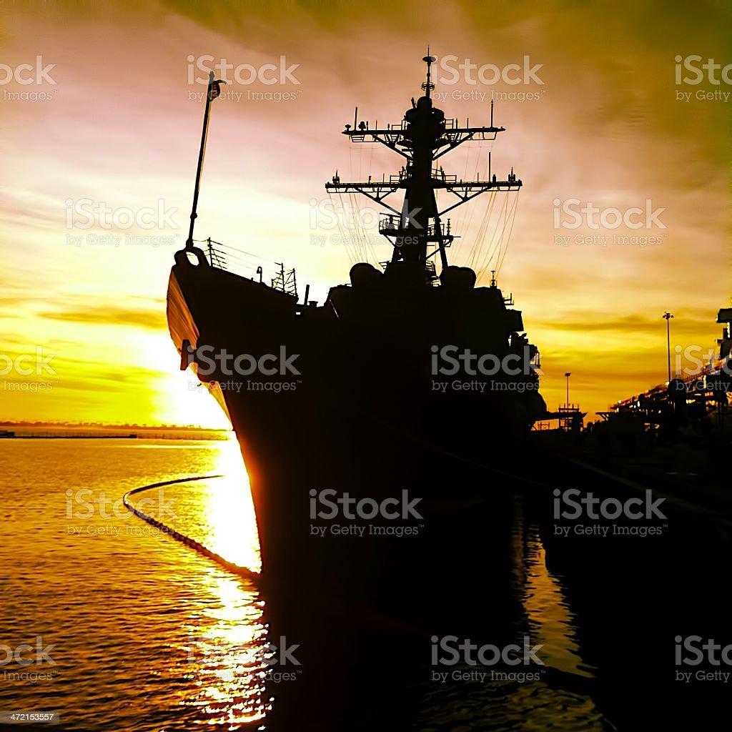 Naval Vessel Sunset stock photo