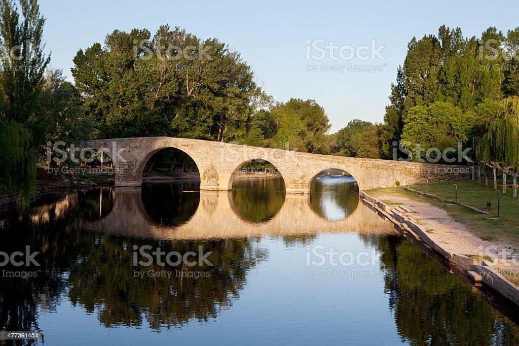 Navaluenga Romanic Bridge. stock photo