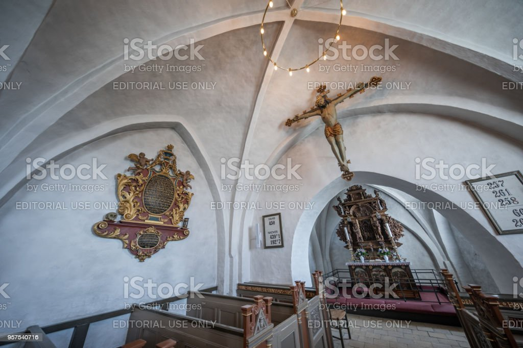 Nave and apse of Fårevejle Church in north-western Zealand, Denmark stock photo