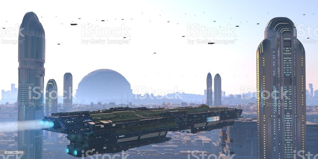 nave cruzando una metropolis futurista stock photo