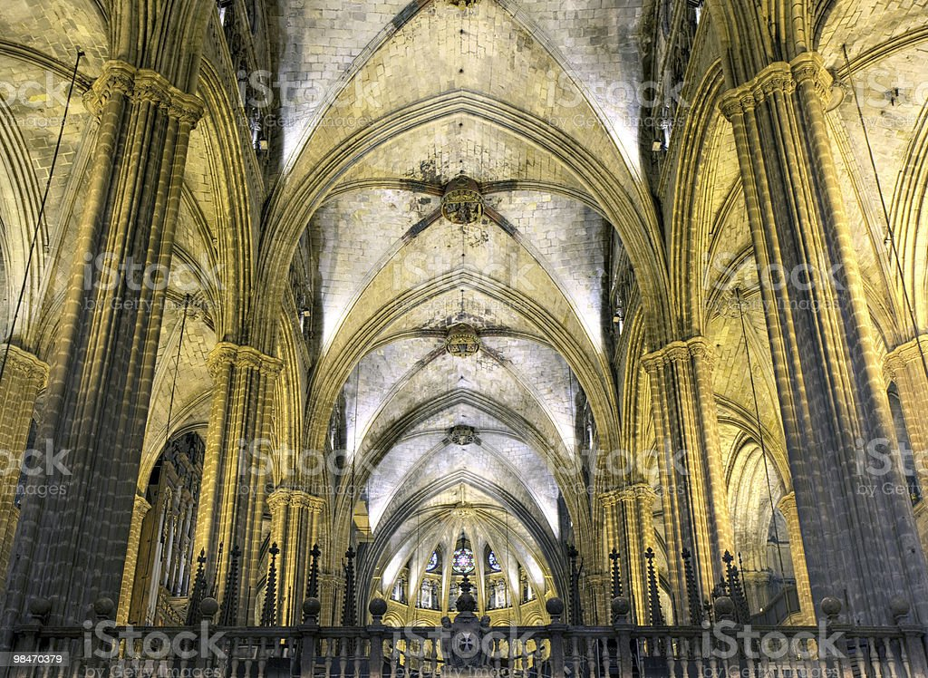 Nave of gothic cathedral, Barcelona royalty-free stock photo