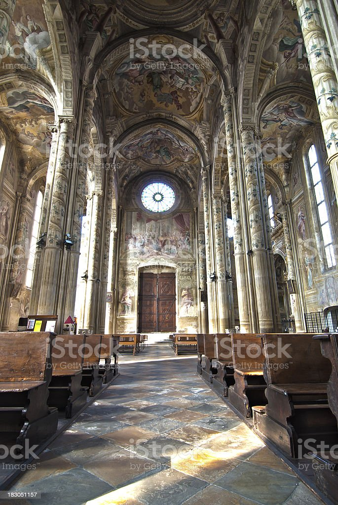 Nave of Gothic Cathedral in HDR, Italy royalty-free stock photo