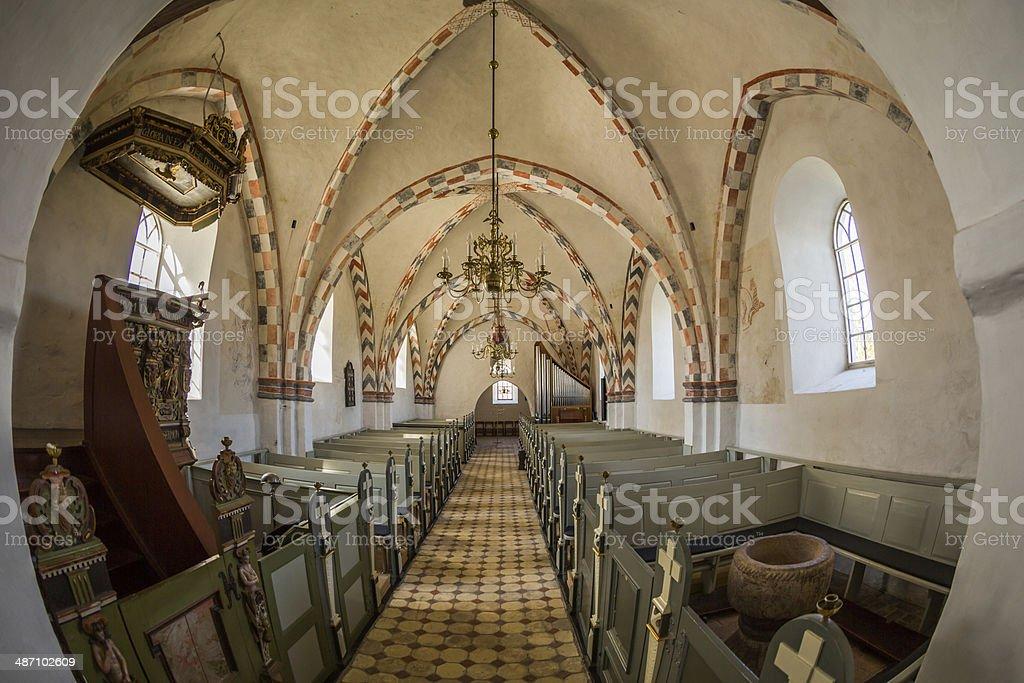 Nave of Orø church royalty-free stock photo