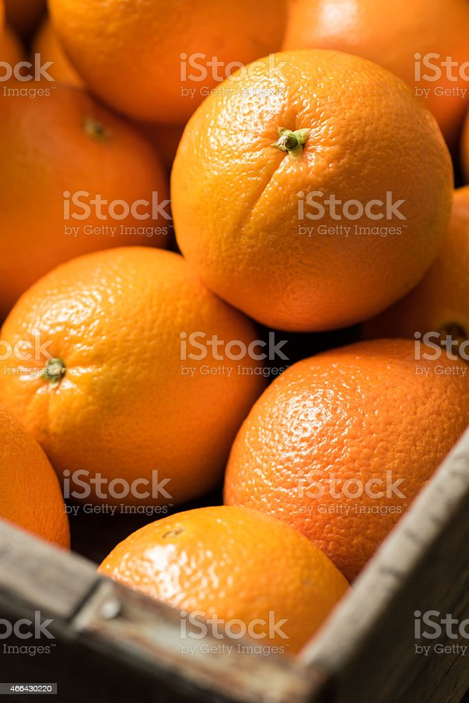 Navel Oranges in a Wooden Crate - Royalty-free 2015 Stock Photo