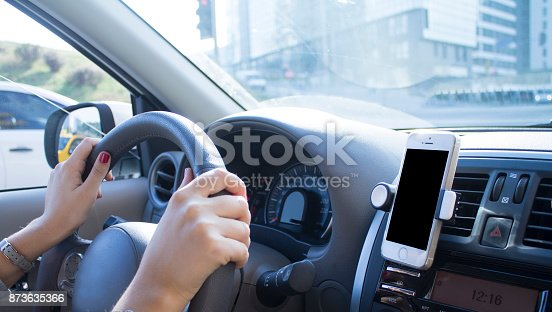 istock Navication in car with hand banner 873635366