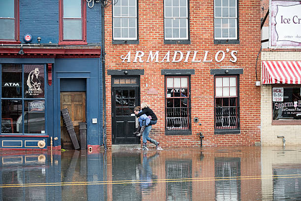 Navigating Hurricane Sandy's Flood Waters in Annapolis, Maryland stock photo