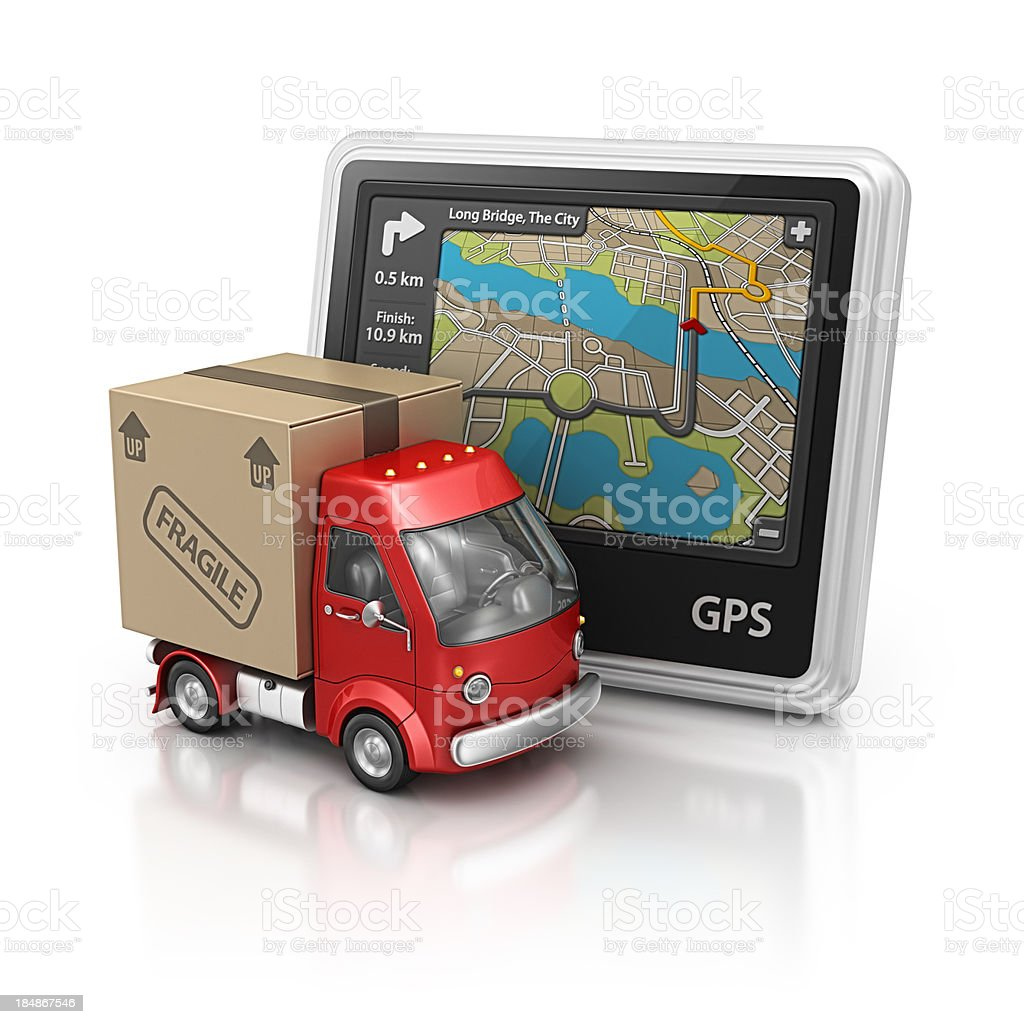 navigation and delivery van royalty-free stock photo
