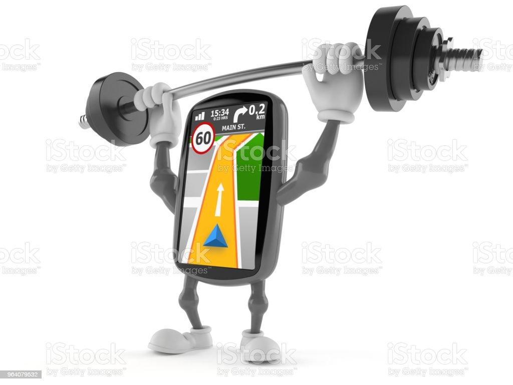 GPS navigation character lifting heavy barbell - Royalty-free Barbell Stock Photo