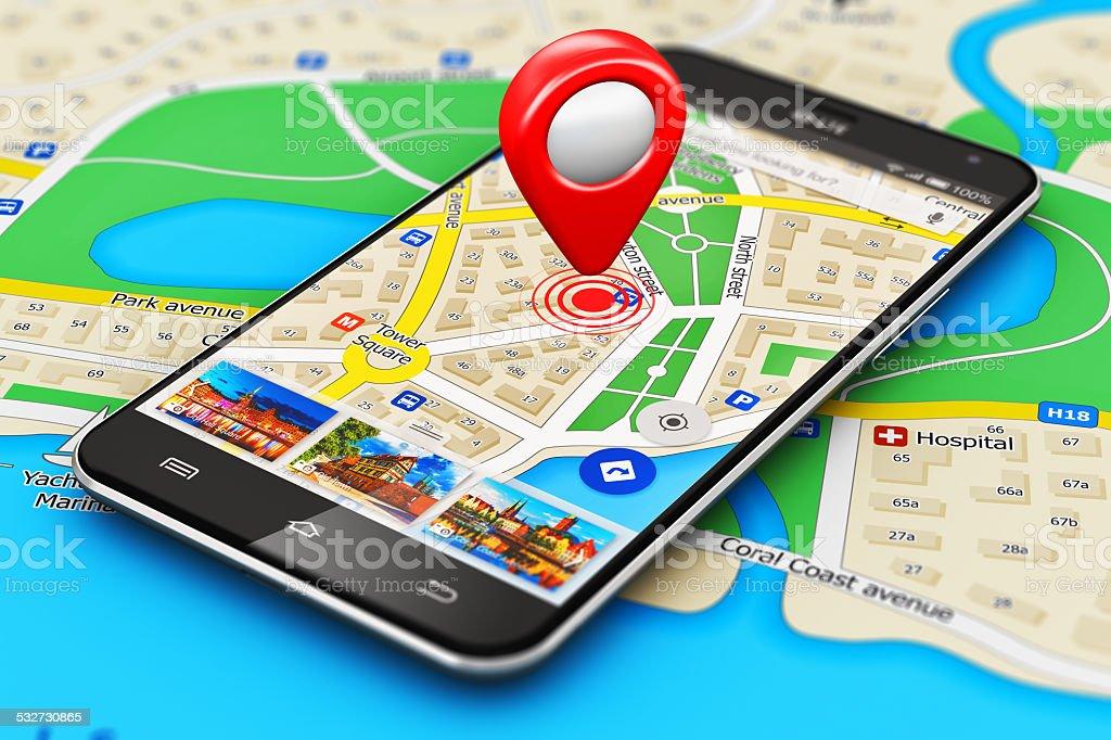 GPS navigation concept stock photo