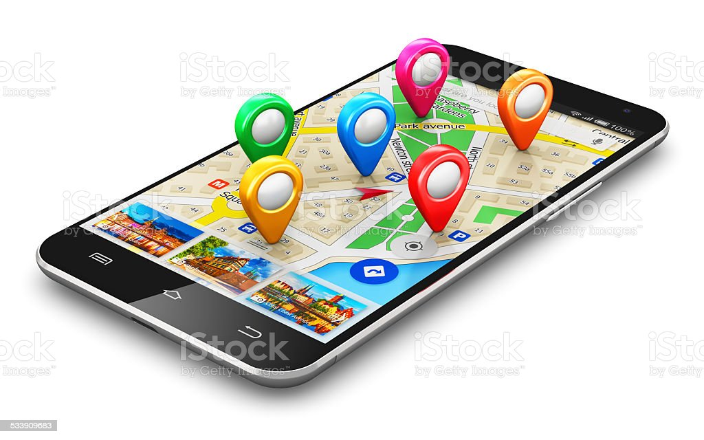 GPS navigation concept stock photo