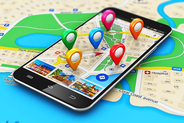 concept de navigation gps - niveau photos et images de collection