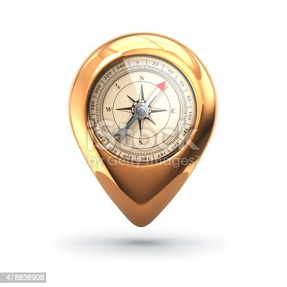 istock Navigation concept. Pin with compass isolated on white. 478838908