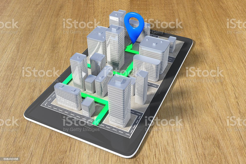 Navigation concept with a cell phone and a paved route stock photo