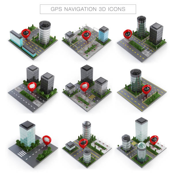 GPS Navigation Icons stock photo