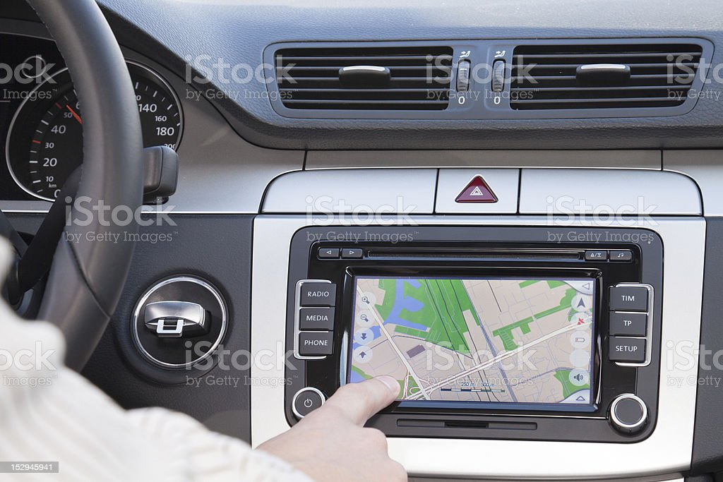 GPS navigation in modern car stock photo