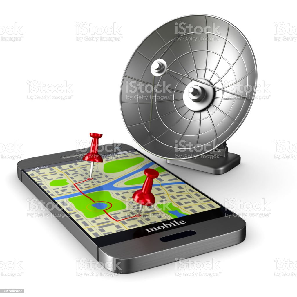 Navigation in phone. Isolated 3D illustration stock photo