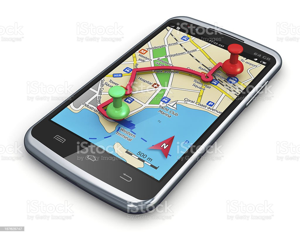GPS navigation in smartphone royalty-free stock photo