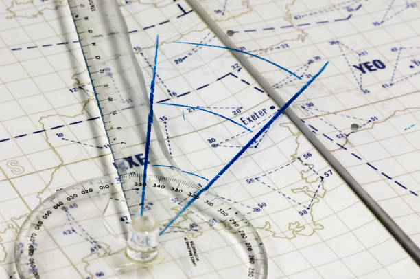 Navigationsmapping Lineal auf einer Karte von Cornwall in Südwestengland – Foto