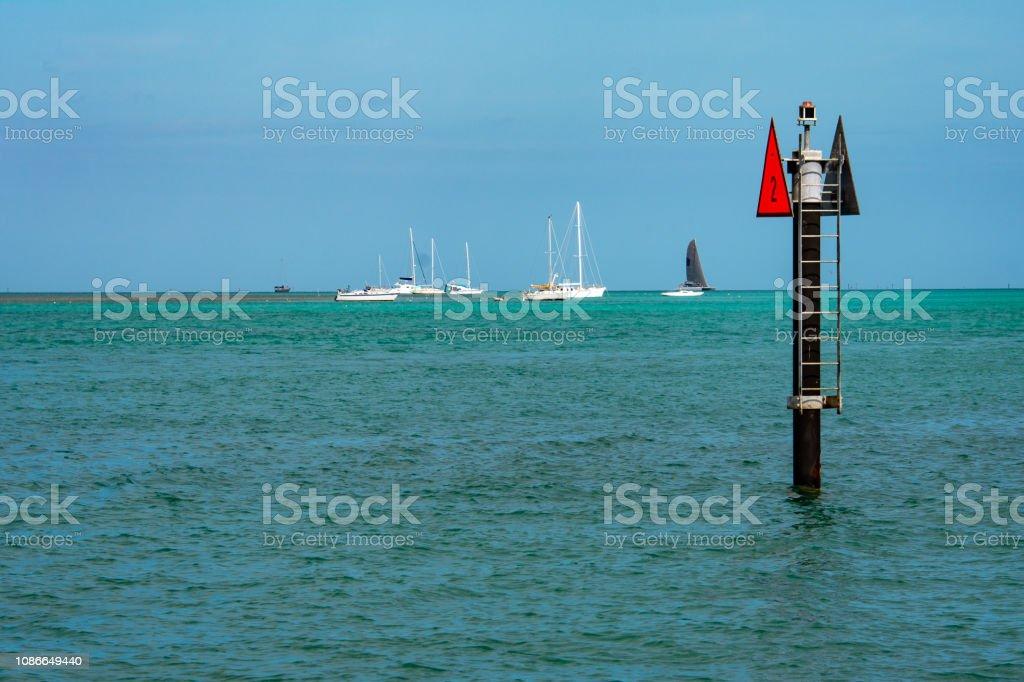 navigation marker in key west harbor stock photo
