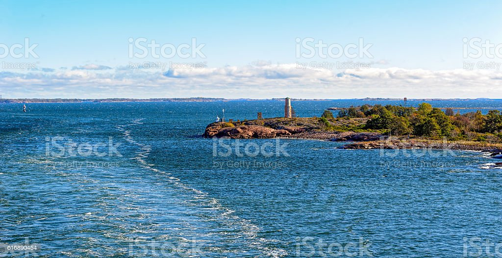 Navigation marks in the Aland archipelago stock photo