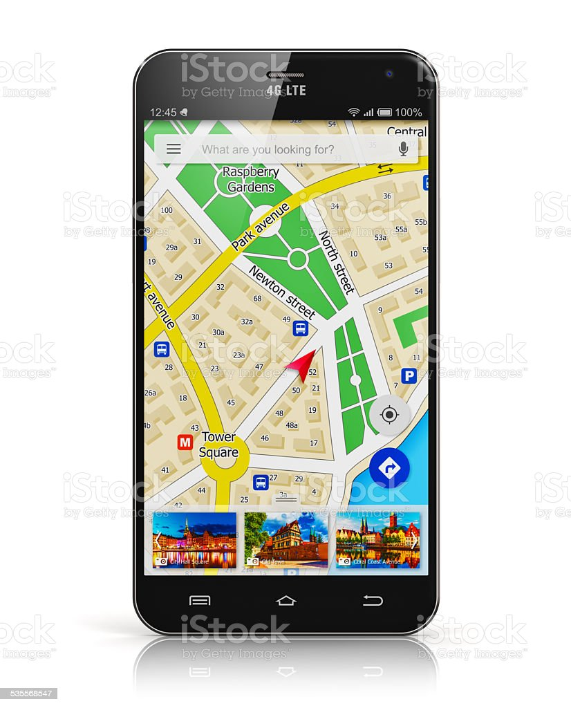 GPS navigation on smartphone stock photo