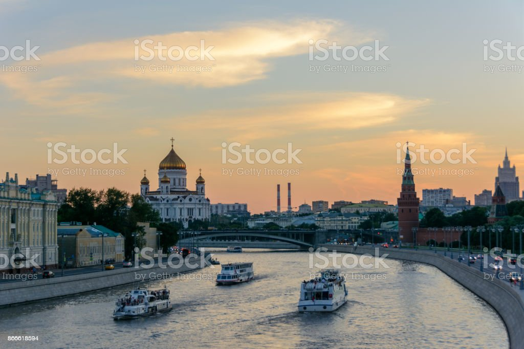 Navigation on the Moscow River, Moscow, Russia stock photo
