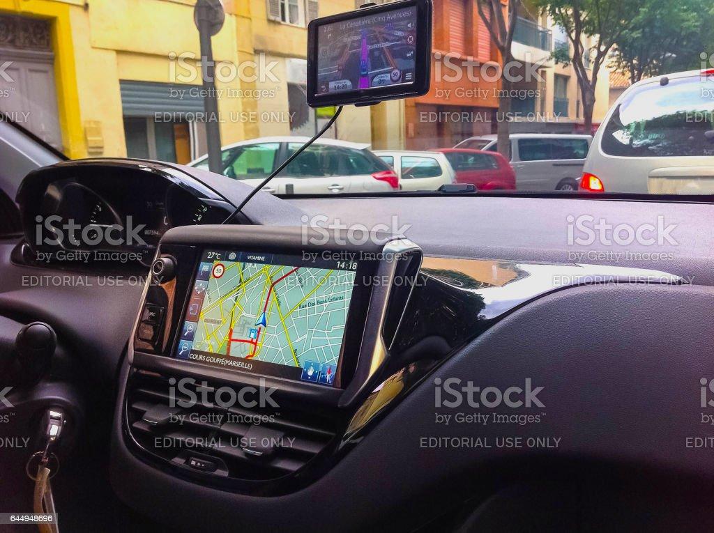 Sistema de navegación en coche - Foto de stock de Brújula libre de derechos