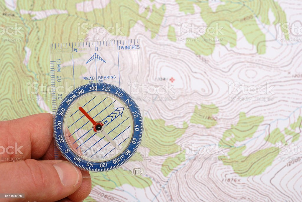 Navigation with compass royalty-free stock photo