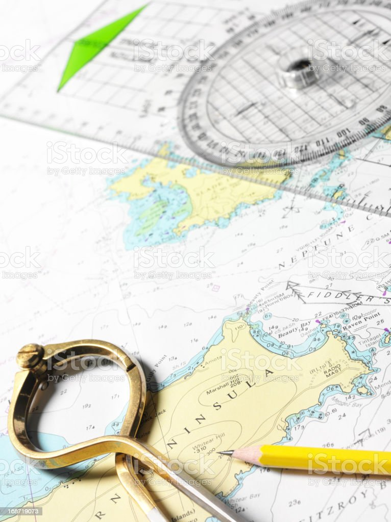 Navigational Route Planning stock photo