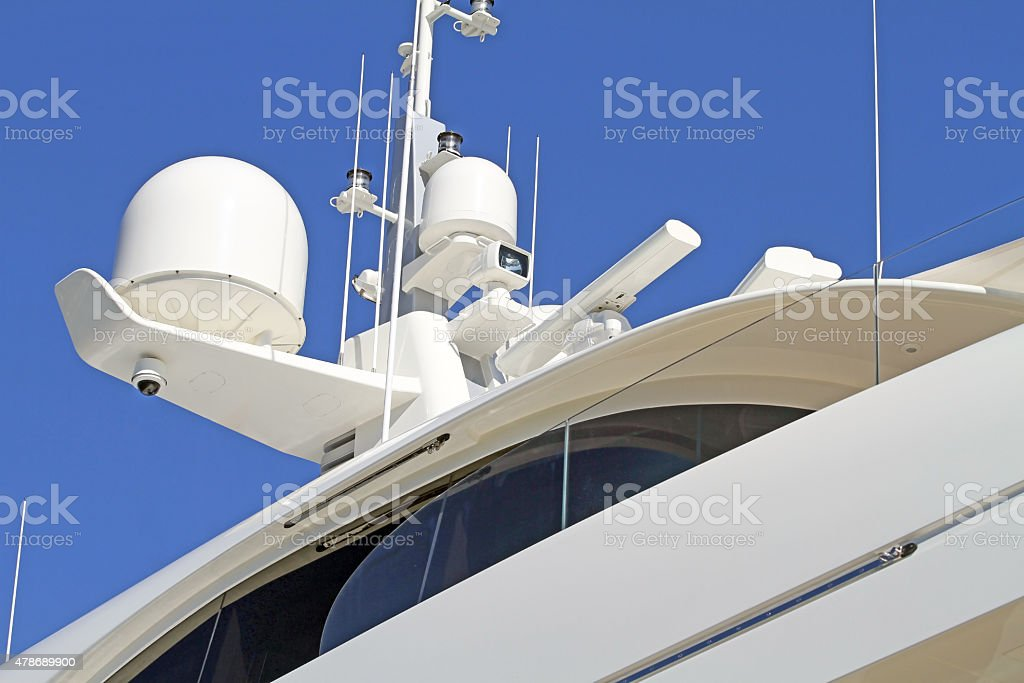 Navigation,Meteorological,Communication And Security Sensors On A Luxury Yacht stock photo