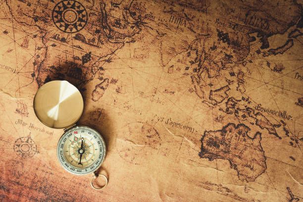 navigator explore journey with compass and world map., travel destination and planning vacation trip., vintage concept. - west direction stock pictures, royalty-free photos & images