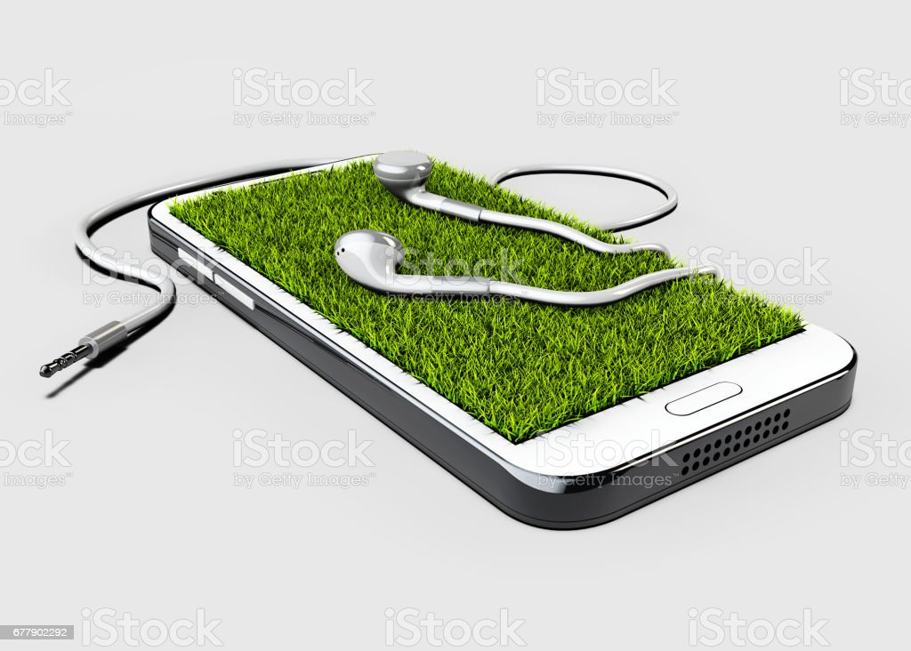 GPS navigator red pin color mock up with grass and headphone on gray background. 3d illustration royalty-free stock photo