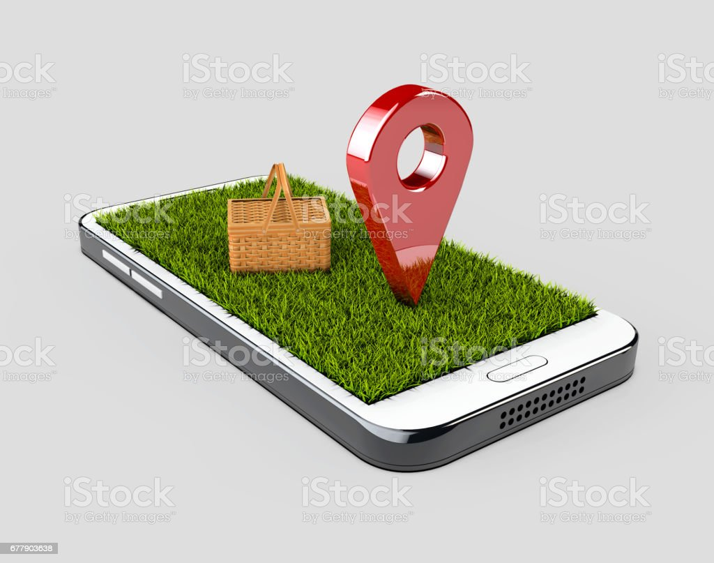 GPS navigator red pin color mock up with grass and picnic basket on gray background. 3d illustration royalty-free stock photo