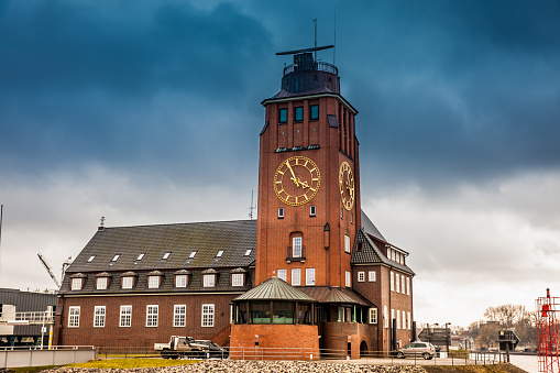 Navigator Tower at Finkenwerder on the banks of the Elbe river in Hamburg