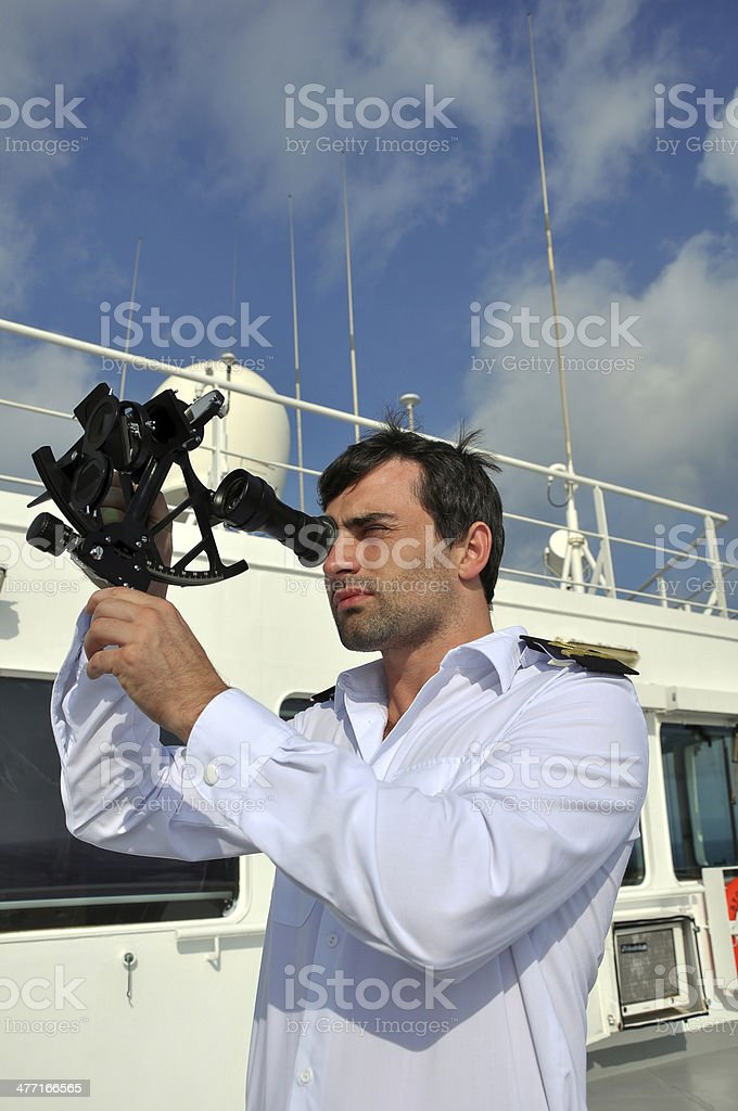 navigator with sextant stock photo