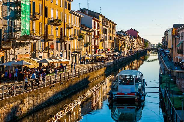 Navigli canal in Milano stock photo