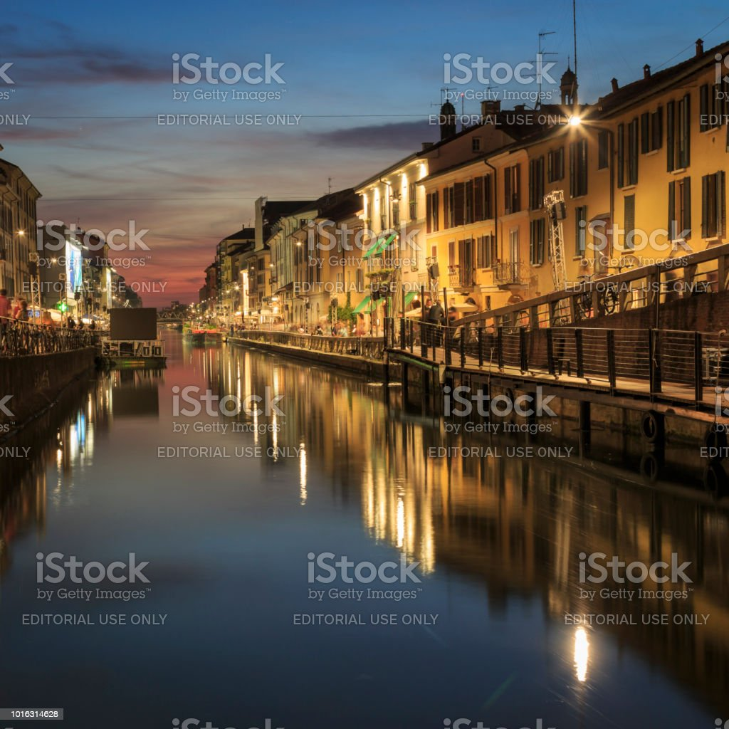 Naviglio Grande -  bars, cafes and restaurants in the beautiful Navigli district in Milan, Italy stock photo