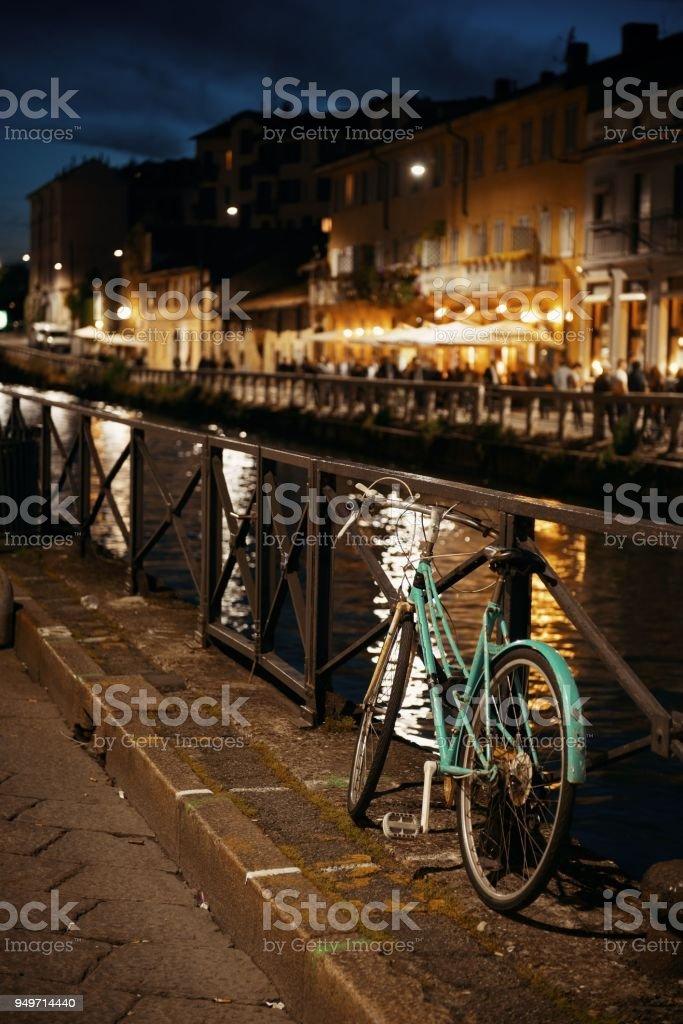 Naviglio Grande canal bike stock photo