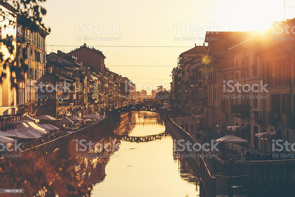 Naviglio Grande al tramonto. - foto stock