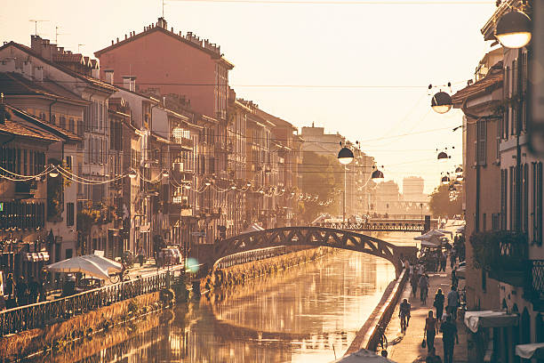 Naviglio Grande Sunset. stock photo