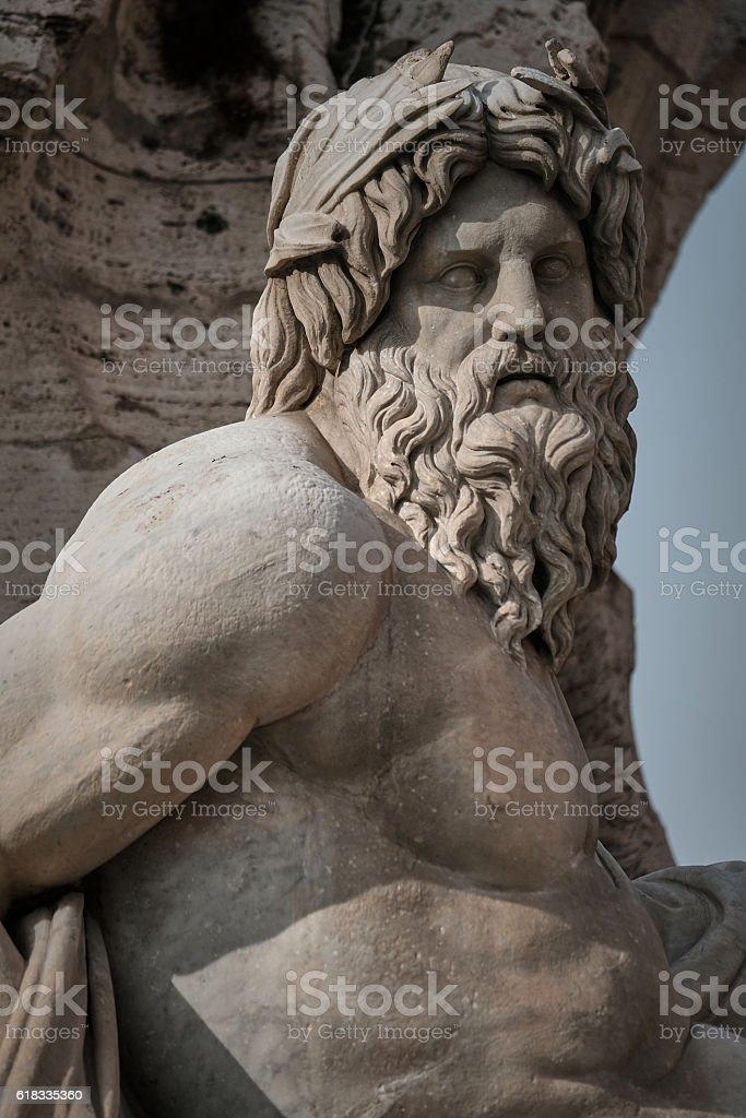 Navona square monumental fountains in Rome, Italy - foto de acervo