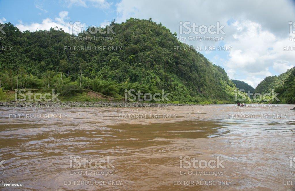 Navua River Rapids and Longboat stock photo