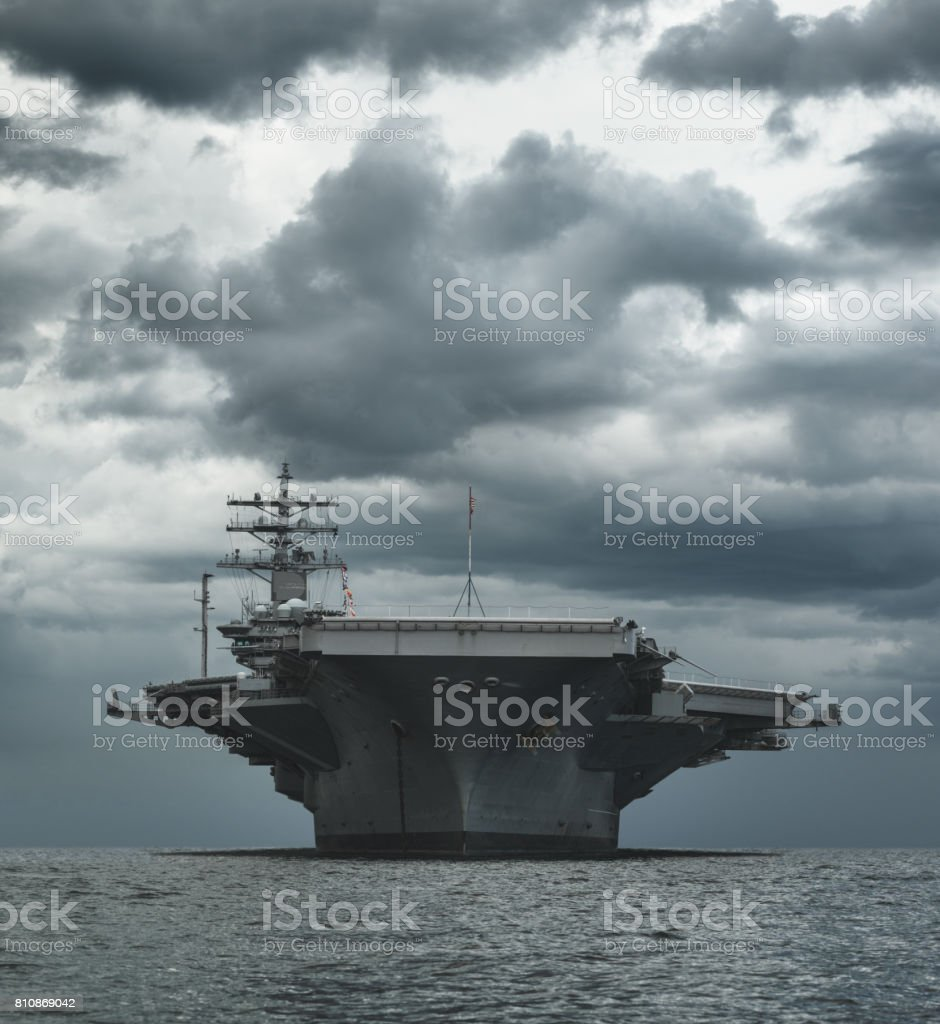 US Navy Aircraft Carrier stock photo