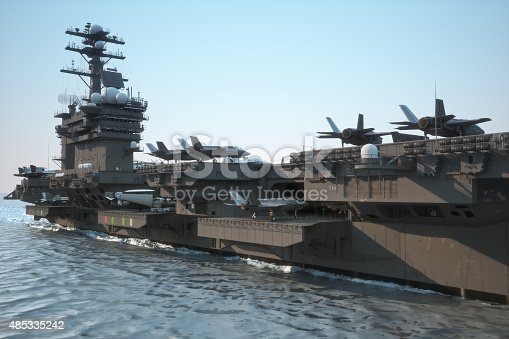 istock Navy aircraft carrier with a large compartment of aircraft and crew. 485335242