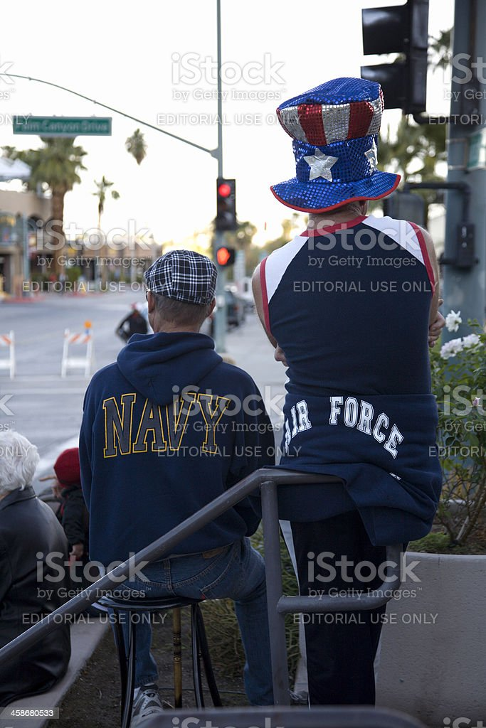 Navy And Air Force Waiting For Veteran's Day Parade royalty-free stock photo