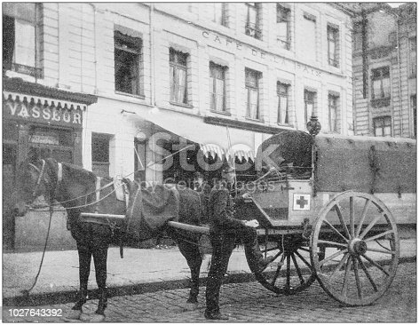 Navy and Army antique historical photographs: Ambulance